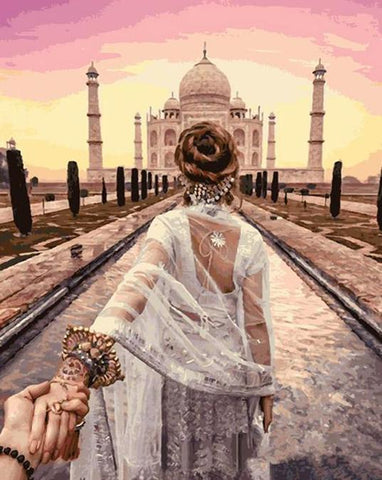 Image of Hand in Hand (Taj Mahal) - DIY Painting By Numbers