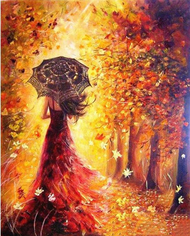 Image of Beautiful Women  in the Autumn - DIY Painting By Numbers