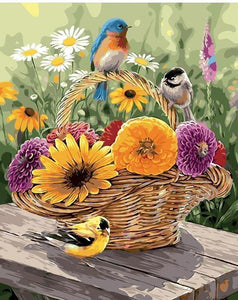 Flowers in a  Basket - DIY Painting By Numbers