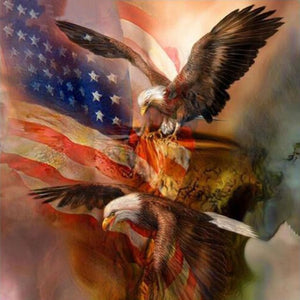 Eagles Flying and US Flag - DIY Diamond Painting