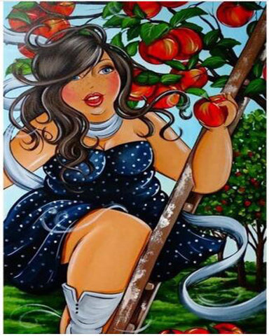 Image of Girl Picking Apple  - DIY Diamond Painting