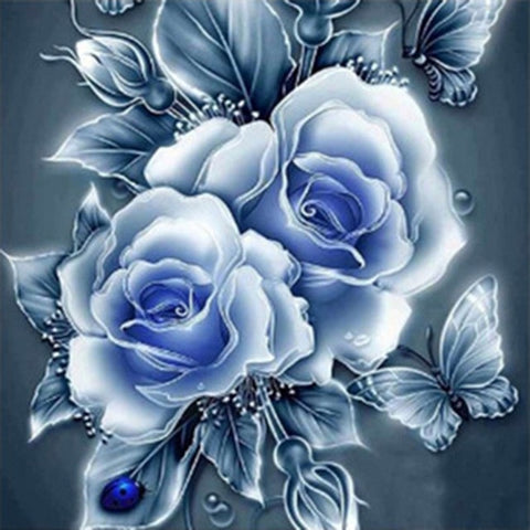 painted blue roses