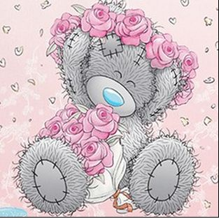 Image of Teddy bear in a Flower Head Dress - DIY Diamond Painting