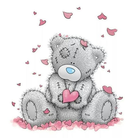 Image of Teddy bear Raining Hearts - DIY Diamond Painting
