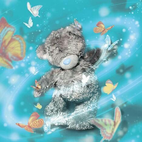 Image of Teddy Bear with Butterflies - DIY Diamond Painting