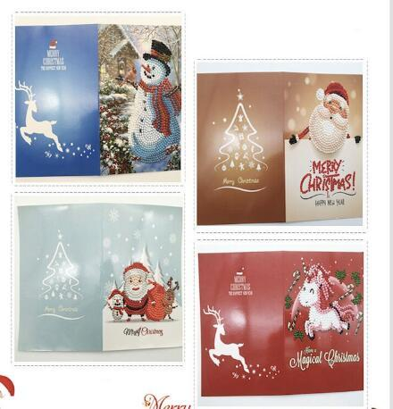 Diamond Painting DIY Christmas Greeting Cards. Set #1 -including 4 cards inside