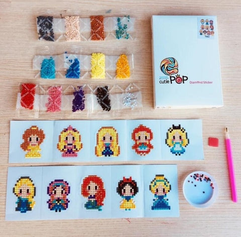Diamond painting stickers Princesses kit (Watch video in Description below)