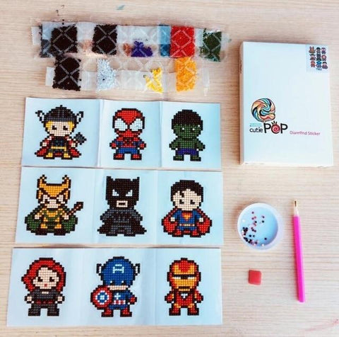 Image of Diamond painting stickers Heroes kit (Watch video in Description below)