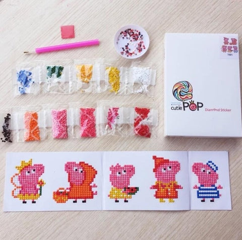 Image of Diamond painting stickers Piggies kit (Watch video in Description below)