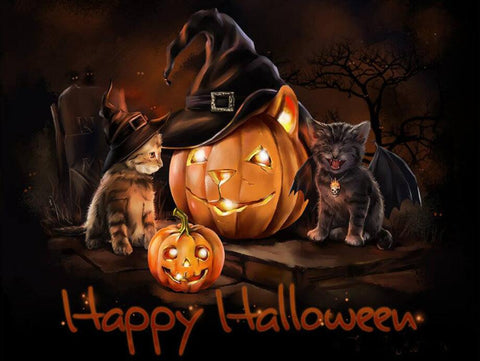 Image of Halloween Cat - DIY Diamond Painting