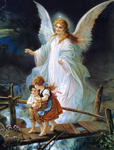 Image of Children with Angel on the Bridge #7 - DIY Diamond Painting