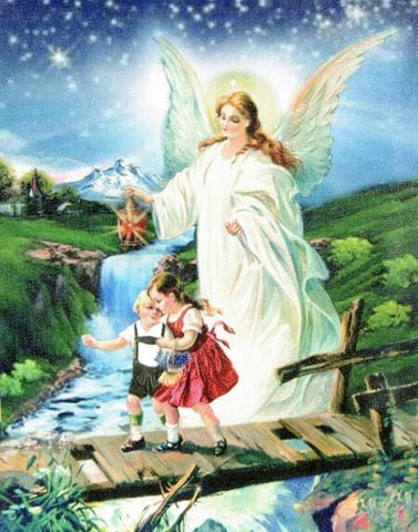 Image of Children with Angel on the Bridge #5 - DIY Diamond Painting