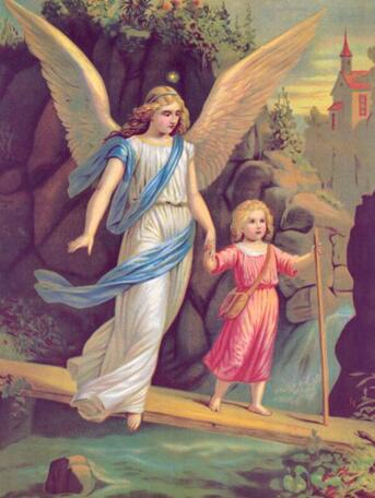 Image of Children with Angel on the Bridge #4 - DIY Diamond Painting