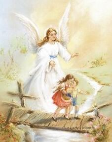 Image of Children with Angel on the Bridge #2 - DIY Diamond Painting