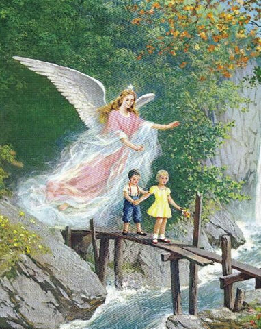 Image of Children with Angel on the Bridge - DIY Diamond Painting
