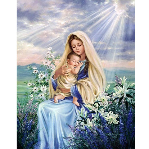 Image of Virgin Mary with a Kid - DIY Diamond Painting