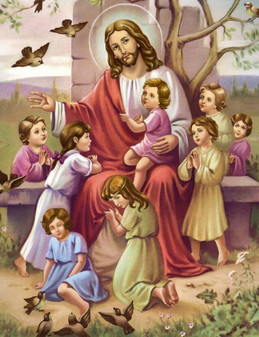 Image of Jesus Christ with Children - DIY Diamond Painting