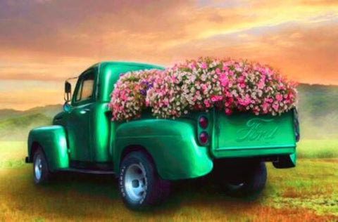 Image of Green Flower Truck - DIY Diamond Painting