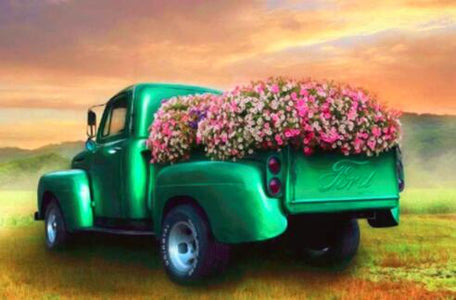 Green Flower Truck - DIY Diamond Painting