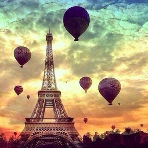 Image of Eiffel Tower and Air Balloons - DIY Diamond Painting