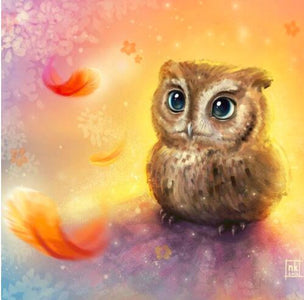 Owl with Falling Feathers - DIY Diamond Painting