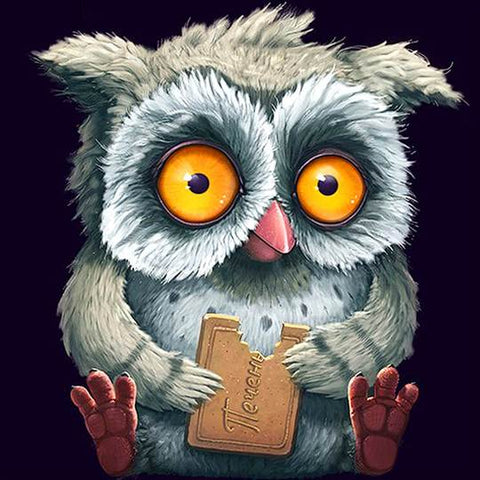 Image of Owl Eating Biscuit - DIY Diamond Painting