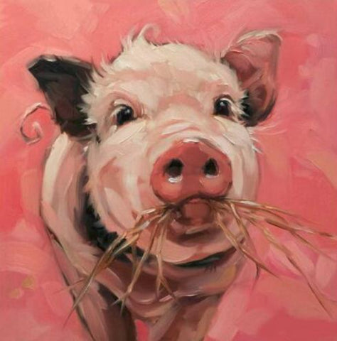 Image of Pig Eating Grass - DIY Diamond Painting