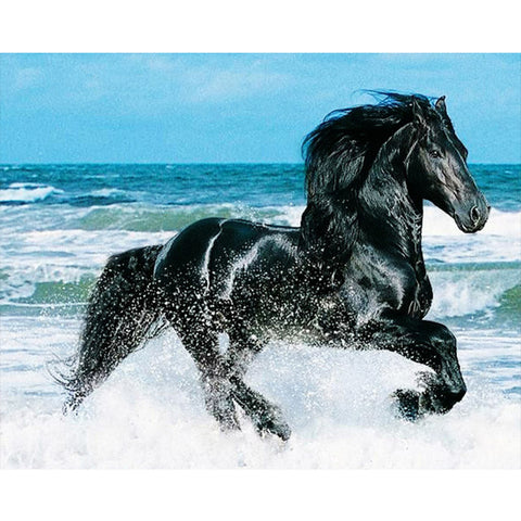 Image of Running Black Horse - DIY Diamond Painting