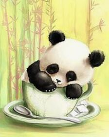 Baby Panda in a Cup - DIY Diamond Painting