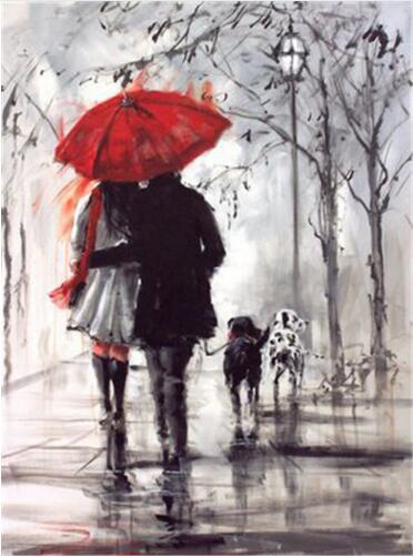 Couple Walking #1 - DIY Diamond Painting