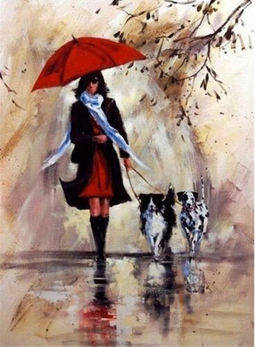 Girl Walking with Dogs #4 - DIY Diamond Painting