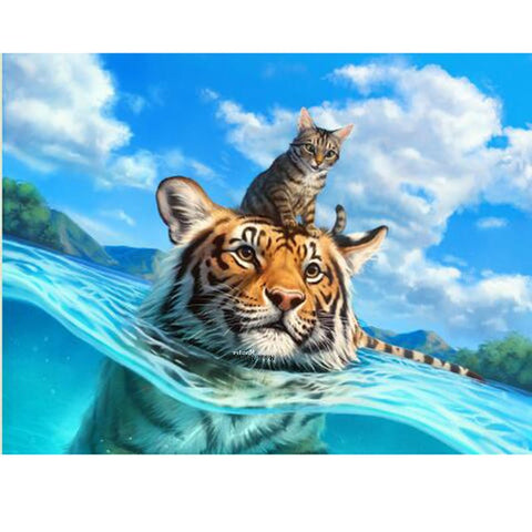Image of Cat and Tiger Swimming - DIY Diamond Painting