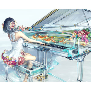 Girl Playing Piano - DIY Diamond Painting