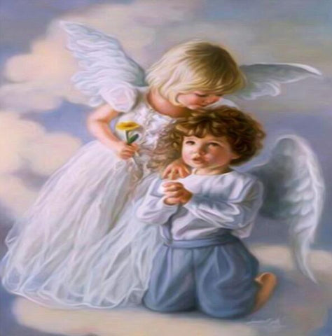 Image of Baby with Little Angel #1 - DIY Diamond Painting