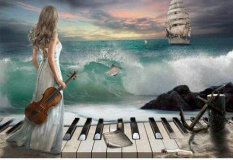 Image of Woman in a Sea Piano Art - DIY Diamond Painting
