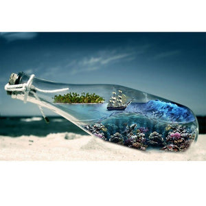 Sea and Sailboat in a Bottle - DIY Diamond  Painting