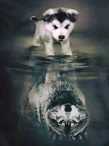 Image of Puppy and Wolf - DIY Diamond  Painting
