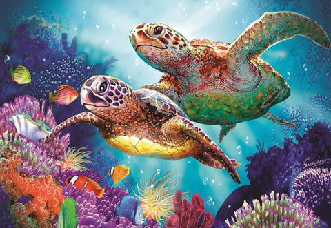 Image of Swimming Turtles - DIY Diamond  Painting
