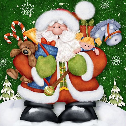 Image of Santa with a Lots of Gifts - DIY Diamond  Painting