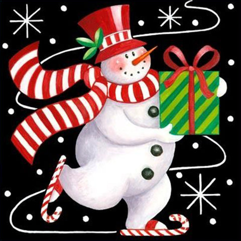 Image of Snowman with a Gift - DIY Diamond  Painting
