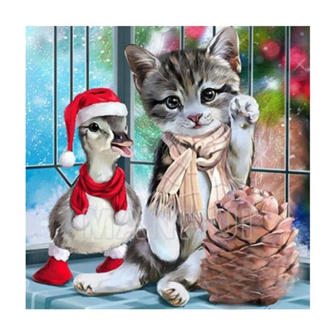 Image of Christmas Cat and Duck - DIY Diamond  Painting