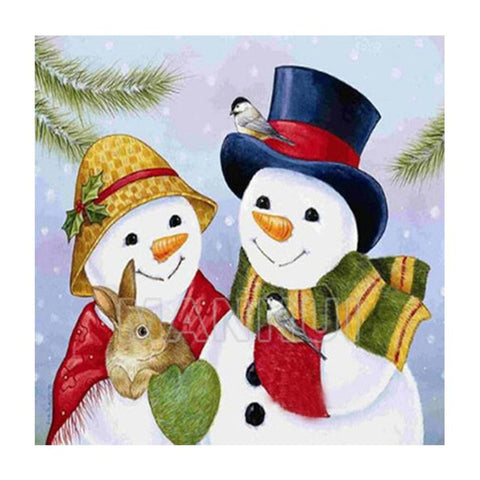 Image of Couple Snowman - DIY Diamond  Painting