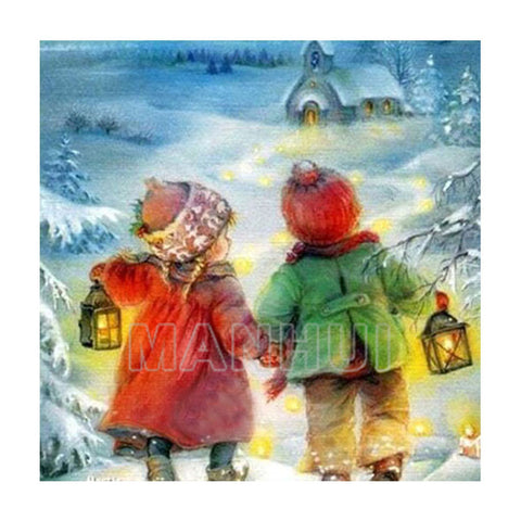 Kids Walking in the Snow - DIY Diamond  Painting
