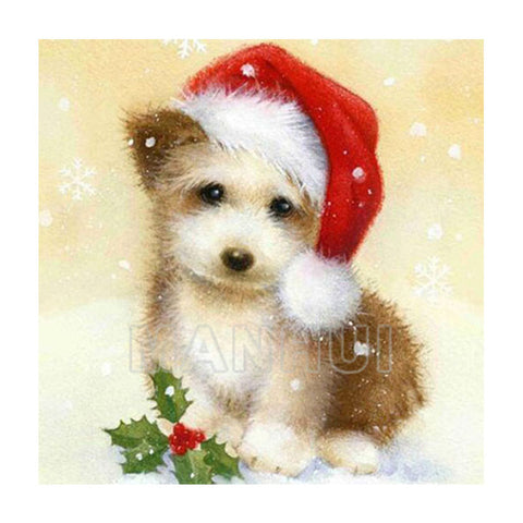 Puppy in a Christmas Hat - DIY Diamond  Painting
