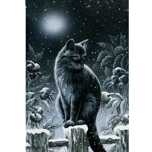 Cat in the Moon Night Snow - DIY Diamond Painting