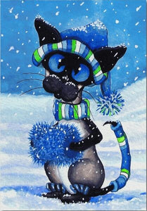 Cat in the Snow - DIY Diamond Painting