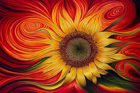 Image of Abstract Sunflower - DIY Diamond Painting