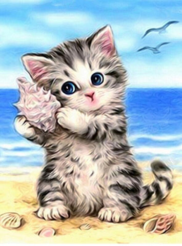 Cat with Seashells - DIY Diamond Painting