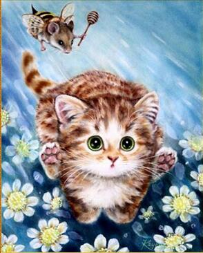 Image of Cat with Mousebee - DIY Diamond Painting