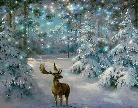 Image of Deer in the Snow Forest - DIY Diamond Painting